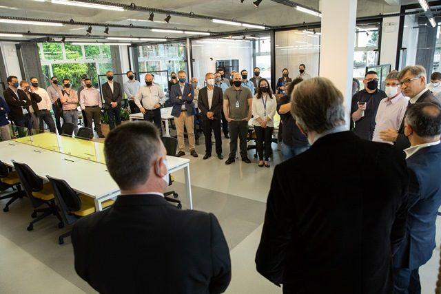 Solenidade marcou instalação da divisão de novos negócios Marcopolo Next e da unidade de investimentos corporativos em empreendimentos iniciantes, Marco Zero - Foto Giovani Boff, DC Multimídia