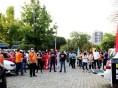Servidores protestam contra a Reforma Administrativa em frente à Prefeitura