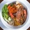Na culinária, Brochette de tilápia com camarão grelhado, arroz e saladinha