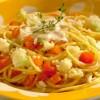 Na culinária, Espaguete com ricota e legumes