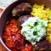 Na culinária, Kofta de cordeiro com cuscuz marroquino e tzatziki
