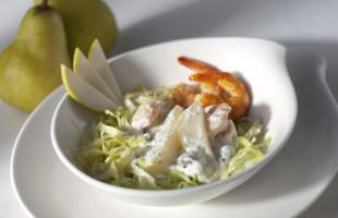 Na culinária, Salada de camarão e peras ao pesto de salsa