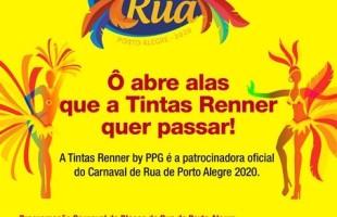 Tintas Renner By PPG é patrocinadora do Carnaval de Rua de Porto Alegre 2020