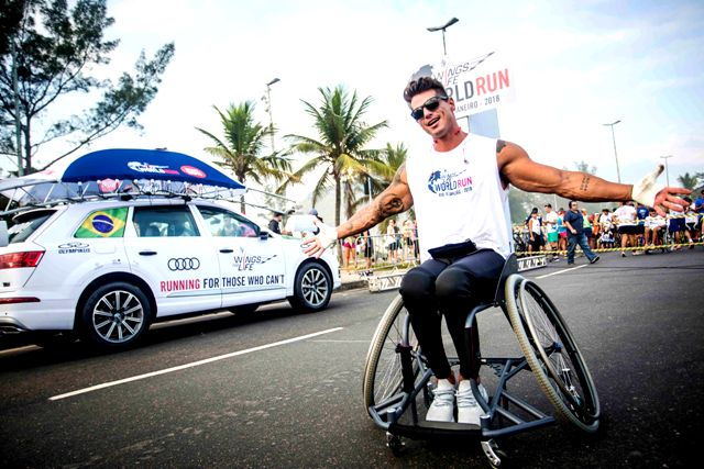 Fernando Fernandez poses for a photograph prior to the start of the Wings for Life World Run in Rio de Janeiro, Brazil on May 6, 2018.