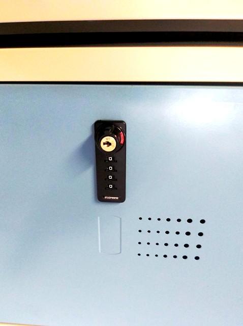 06505.0010.92 fechadura segredo numérico aplicada em armário de aço