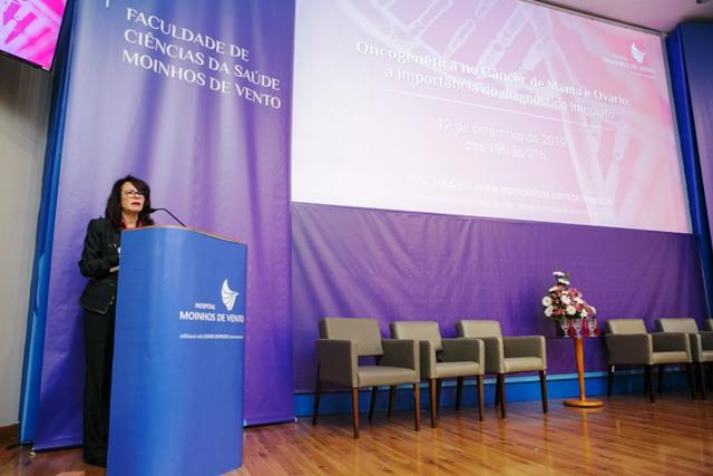 A chefe do Serviço de Mastologia do Hospital Moinhos de Vento, Maira Caleffi, fez a abertura do evento.