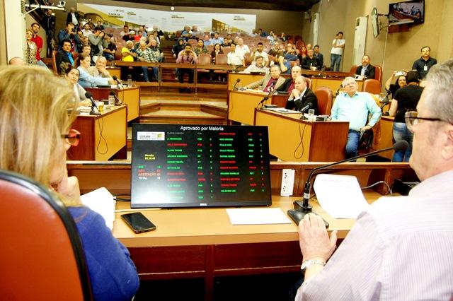 No momento que o presidente Flávio Cassina anuncia o resultado do votação: 14 Sim x 08 Não - Foto Laudir Dutra