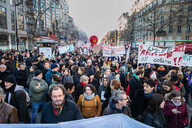 Manifestation contre la rÈforme des retraites voulant instaurer la retraite ‡ unique ‡ points, ‡ Paris le 16 janvier 2020.
