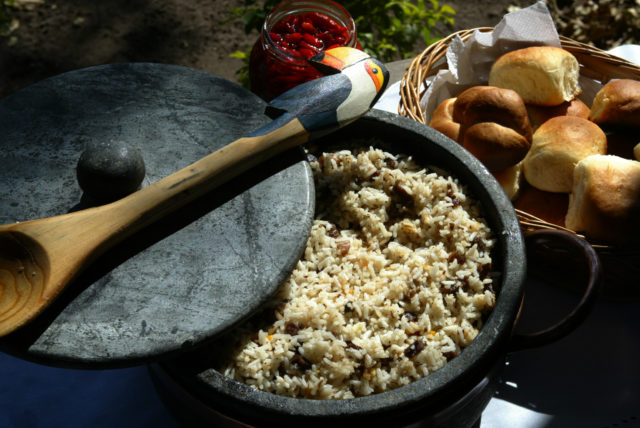 Traditional food at Pantanal, Carreteiro rice, a mixed of rice, meat and spices, Pantanal of Mato Grosso do Sul, Brazil